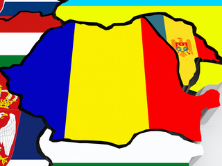 Map of Romania and Moldova.