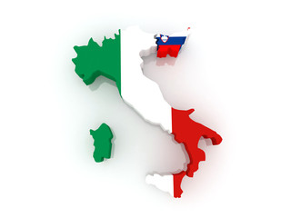 Map of Italy and Slovenia.