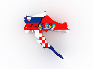 Map of Croatia and Slovenia.