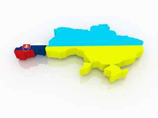 Map of Slovakia and Ukraine.