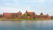 Teutonic castle Malbork in Pomerania region of Poland over Nogat