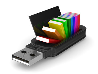 usb flash drive and books on white background. Isolated 3D image