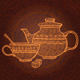 Vintage background with teapot, cup and sugar