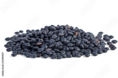Small pile of black Beluga Lentils