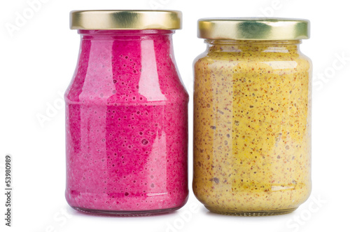 Glass jars with mustard horseradish sauce