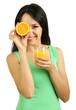 Girl with fresh juice and orange isolated on white