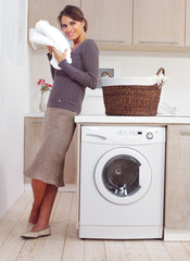 woman on washing machine