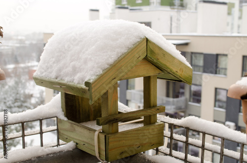 wooden small house birdie abundant snow roof