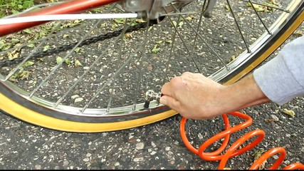 inflating a bicycle tire