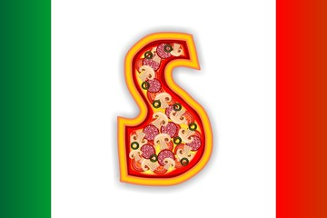 PIZZA - LETTER - S of the alphabet