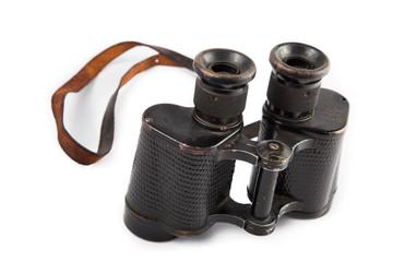 Black old military binoculars isolated on white