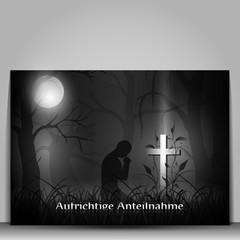 Trauerkarte ,dunkel, Aufrichtige Anteilnahme