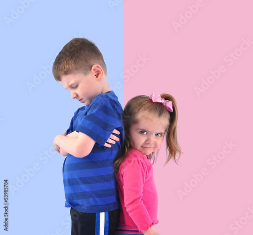 Divided Upset Children Back to back