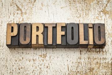 portfolio word in wood type