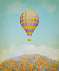 Baloon in the sky above the meadow of flowers.. Illustration