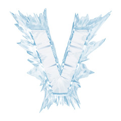 Ice crystal  font. Letter V.Upper case.With clipping path