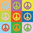 Farbige PEACE Zeichen