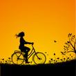 Fahrradfahrerin silhouette