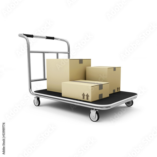 Hand truck with a boxes isolated on white background