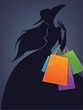 vector commercial background with girl silhouette and shopping b