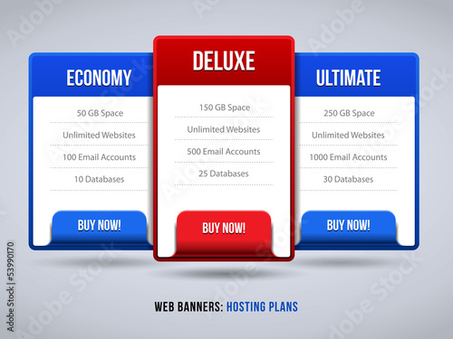 Web Banners Boxes Hosting Features Plans