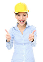 Female Architect Gesturing Thumbs Up