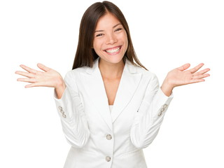 Cheerful Young Businesswoman Shrugging