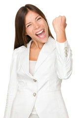 Energetic Businesswoman Clenching Fist
