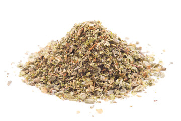 Dried marjoram on a white background