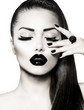 Black and White Brunette Girl Portrait. Trendy Caviar Manicure
