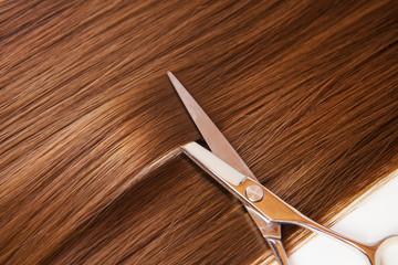hairdresser scissors on the hair