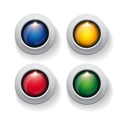colorful circle button set on white