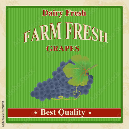 Vintage farm fresh grapes poster