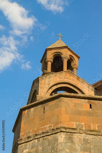 Right колокольна a cathedral of Echmiadzin against the sky