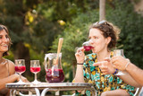 Young woman drinking sangria with friends
