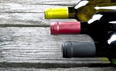 Wine bottle on a wooden table