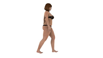 Girl women loosing weight fat while walking