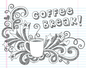 Coffee Break Sketchy Doodle Mug Illustration