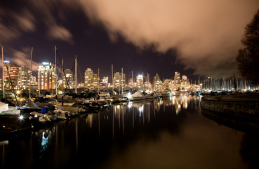 Vancouver city harbor at night, Canada BC