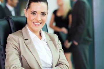 attractive young businesswoman closeup portrait