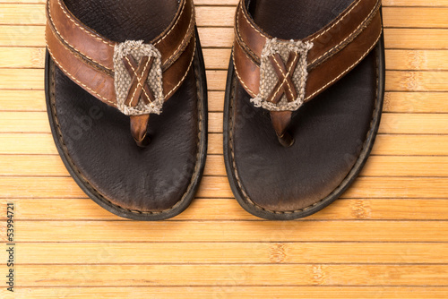 Old Weathered Leather Flip Flops