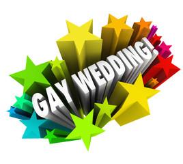 Gay Wedding Starburst Announcement Homosexual Marriage