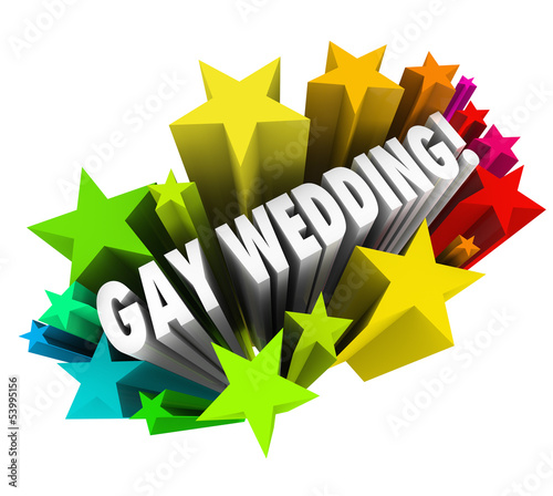 Gay Wedding Starburst Announcement Homosexual Marriage