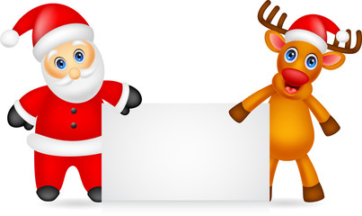 santa claus and deer cartoon with blank sign