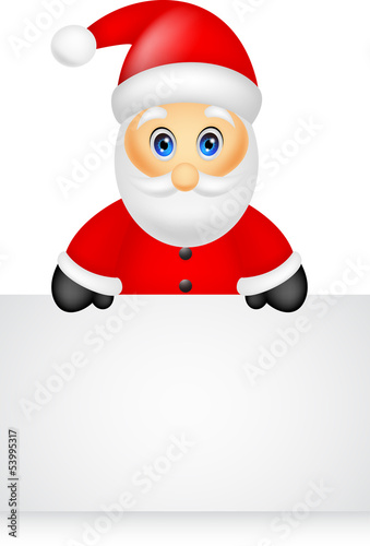 santa claus with blank sign