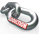 Addiction Chain Links Word Addict Trapped in Disease