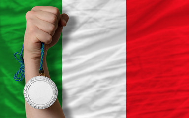 Silver medal for sport and  national flag of italy