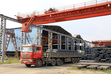 ingot and truck in a steel factory