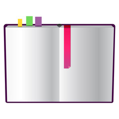 isolated book with bookmarks