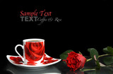 Red coffee cup with red rose
